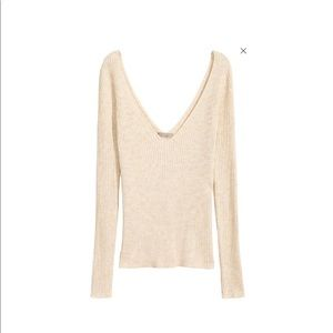 H&M beige plunge ribbed sweater